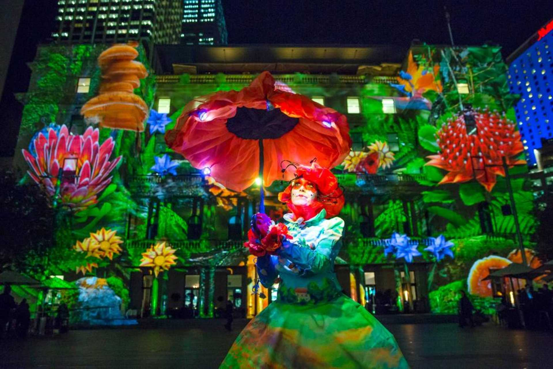 The CBD is lighted up for the annual Sydney Vivid Festival.
