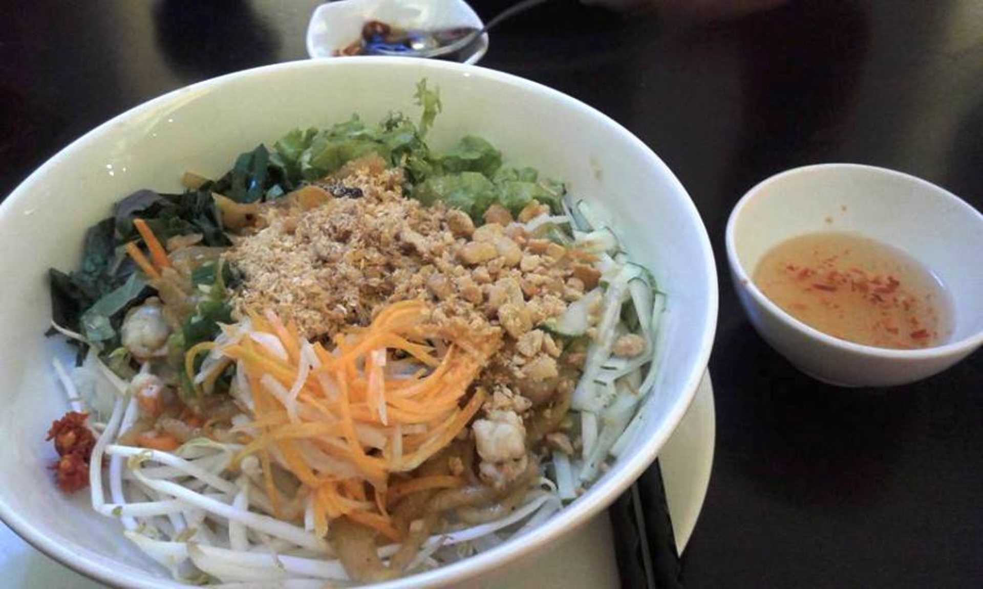 Noodle treat with a side of tangy dressing