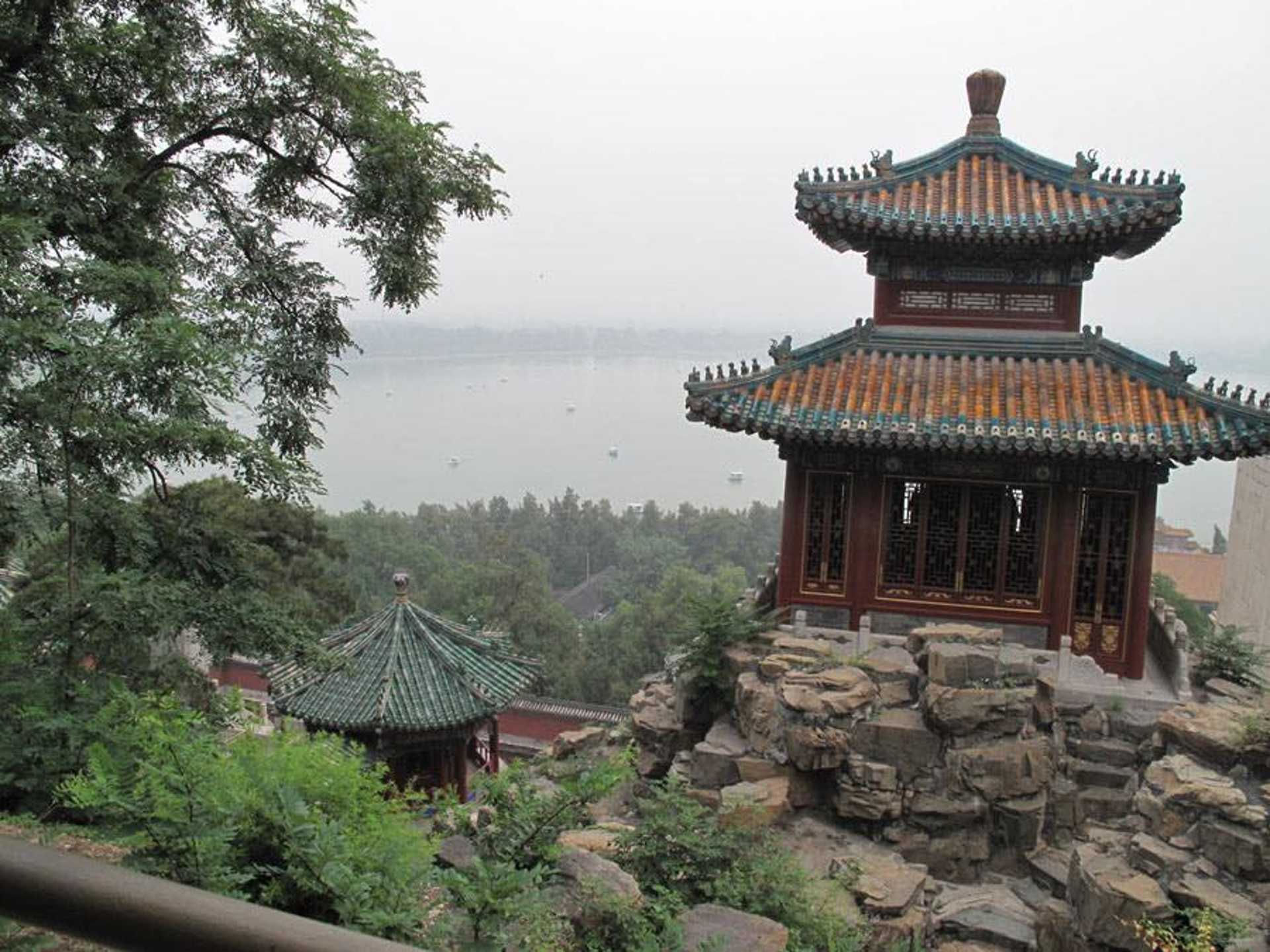 One of the structures in the Summer Palace overlooking the lake.