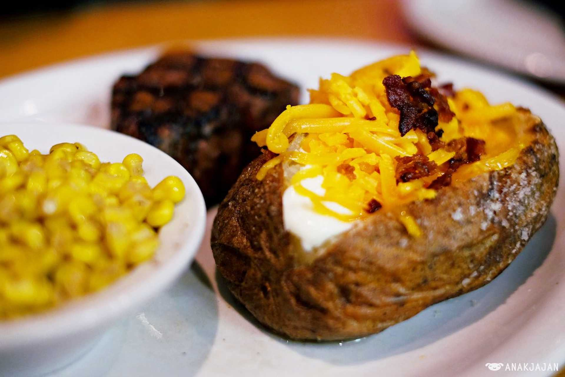 10 - Texas Roadhouse baked potato and buttered corn