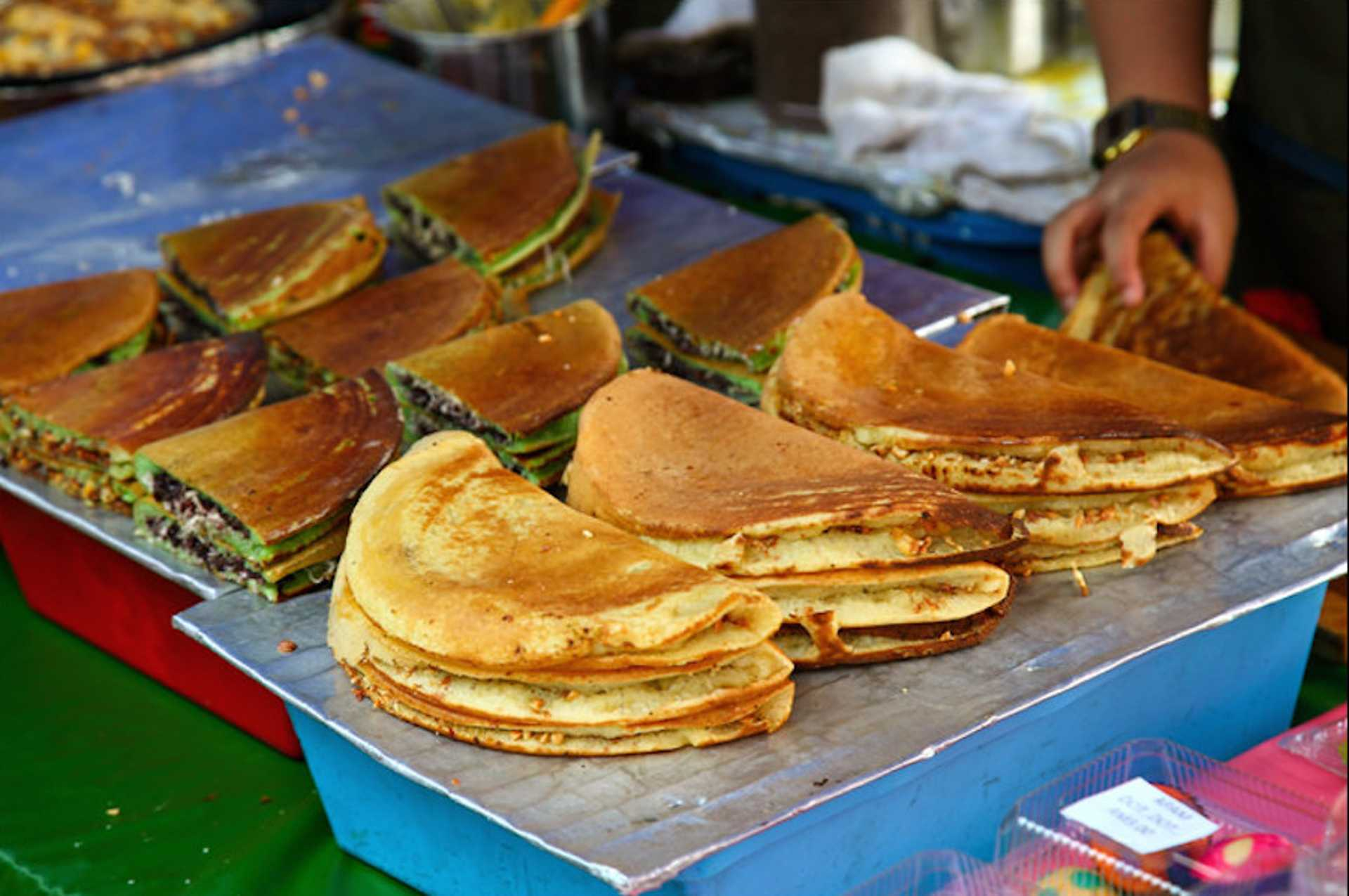 The pandan flavoured apam balik is a unique take on the classic