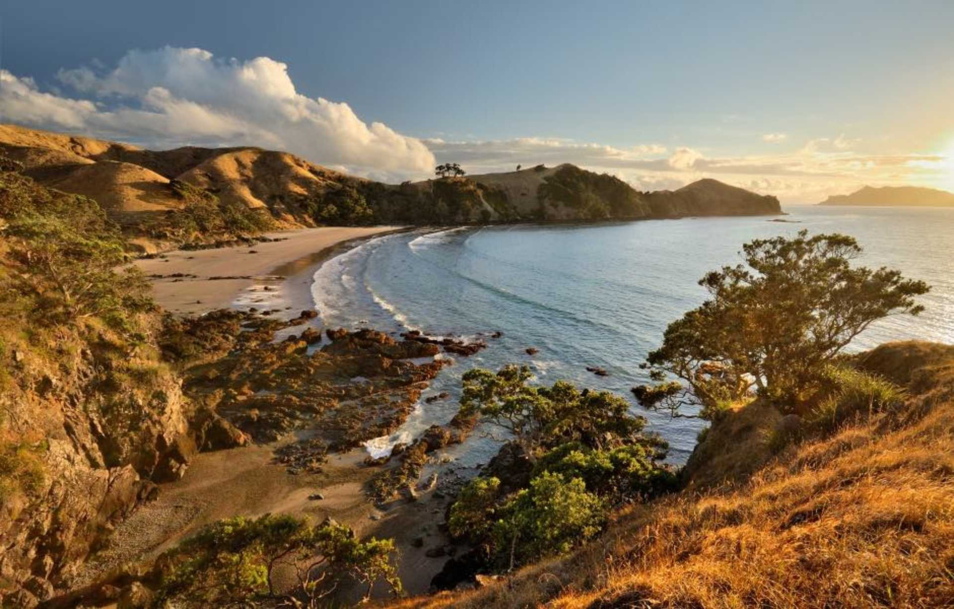 Great Barrier Island bathed in the lights of the setting sun.