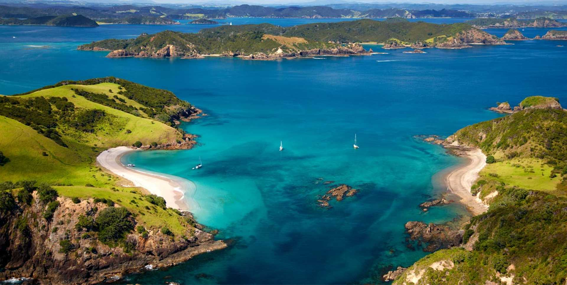 Bird's eye view of the turquoise waters at Bay of Islands.