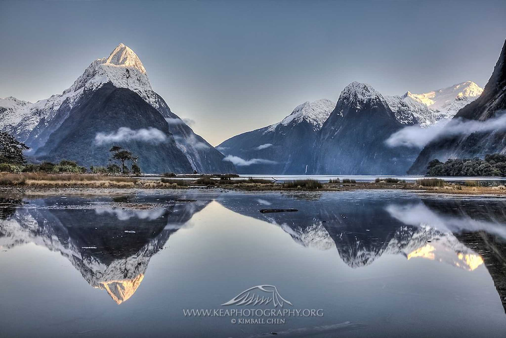 Seeing double? The Mitre Peak are reflected on Milford Sound