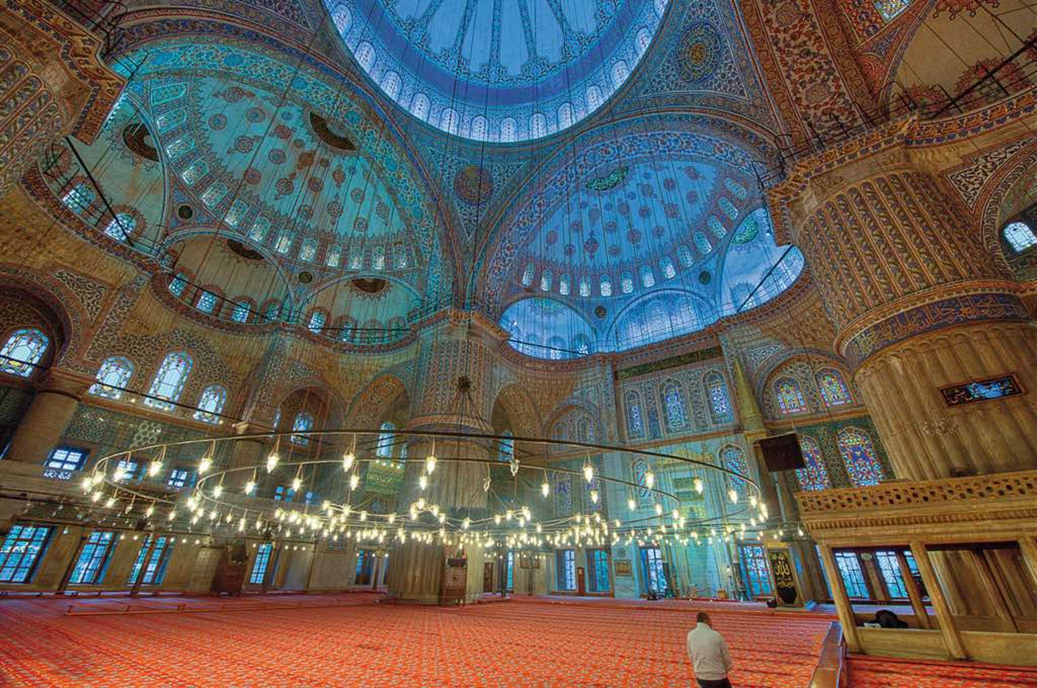 The interior of the Blue Mosque